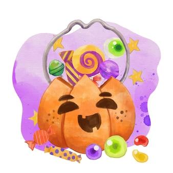 Watercolor halloween bag illustration