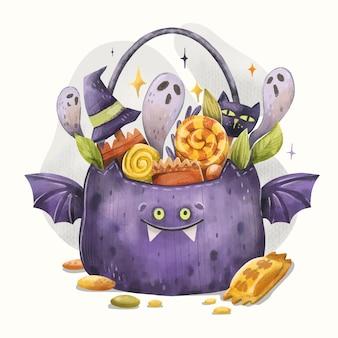 Акварельная иллюстрация мешка хэллоуина
