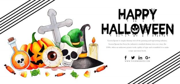 Watercolor halloween banner template