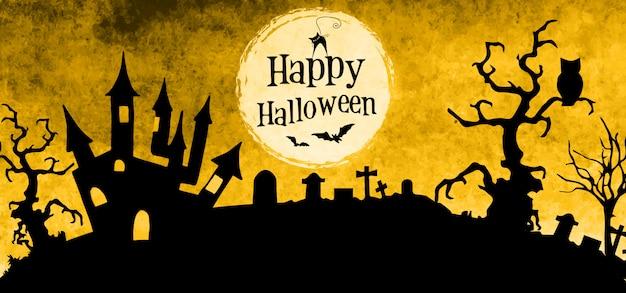 Watercolor halloween banner