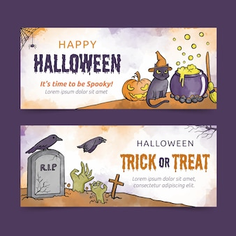 Watercolor halloween banners template