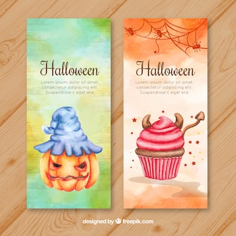 Watercolor halloween banners