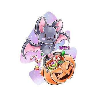 Concetto di pipistrello di halloween dell'acquerello