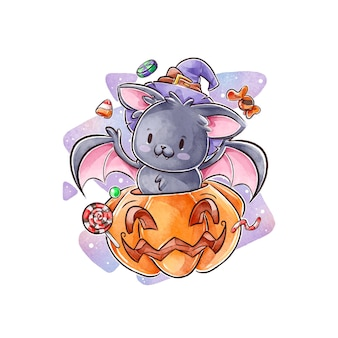 Watercolor halloween bat concept