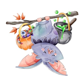 Watercolor halloween bat concept