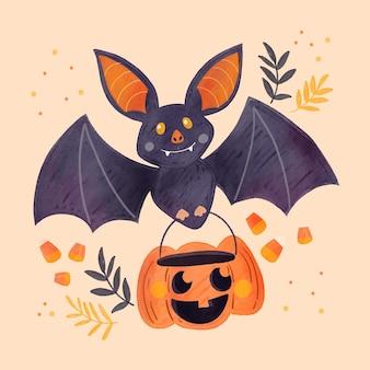 Watercolor halloween bat
