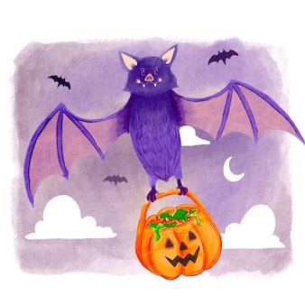 Watercolor halloween bat