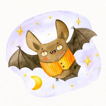 수채화 할로윈 박쥐