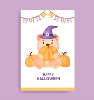 Watercolor halloween bear card