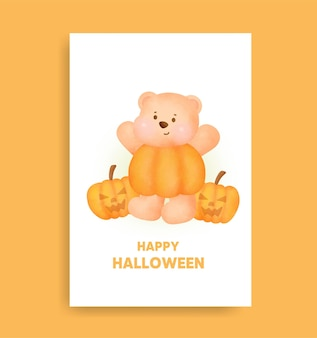 Watercolor halloween bear holding pumpkin card .
