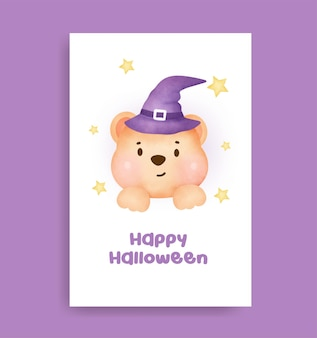 Watercolor halloween bear witch greeting card