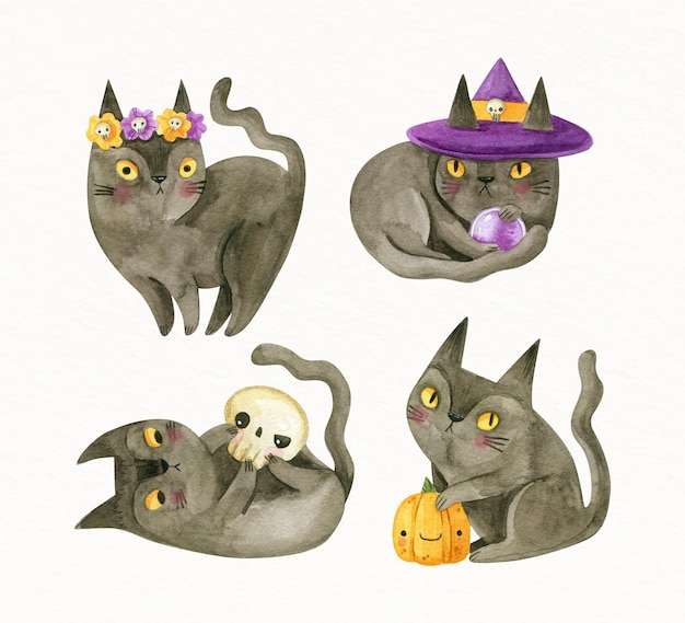 Коллекция акварельных черных кошек хэллоуин