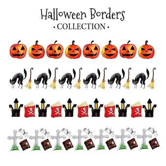 Watercolor halloween borders collection