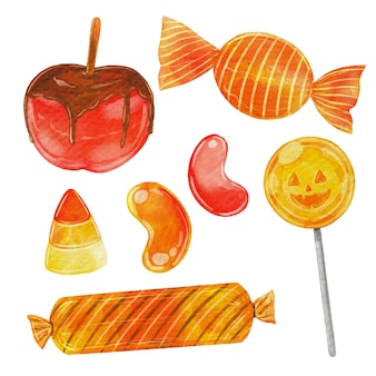 Watercolor halloween candy collection