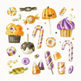 Коллекция акварельных конфет хэллоуина