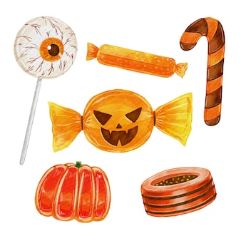 Watercolor halloween candy set