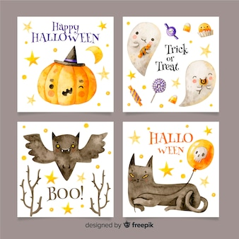 Watercolor halloween card collection
