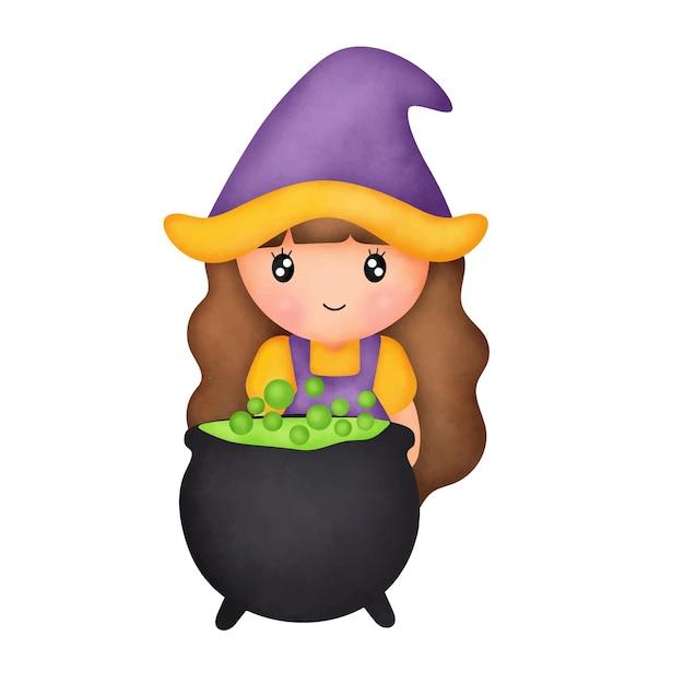 귀여운 마녀와 수채화 할로윈 카드