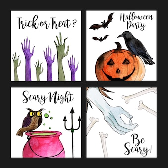 Watercolor halloween cards collection