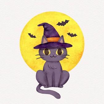 水彩のハロウィーンの猫のイラスト