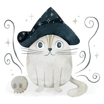 Акварельная иллюстрация кошки хэллоуина