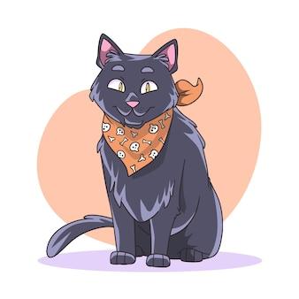 Watercolor halloween cat illustration