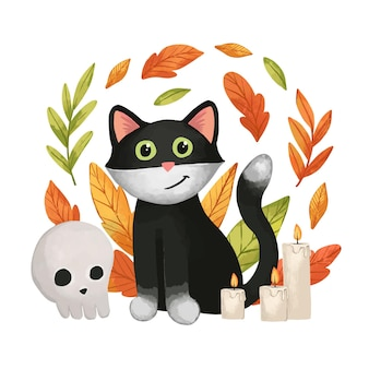 Watercolor halloween cat Free Vector