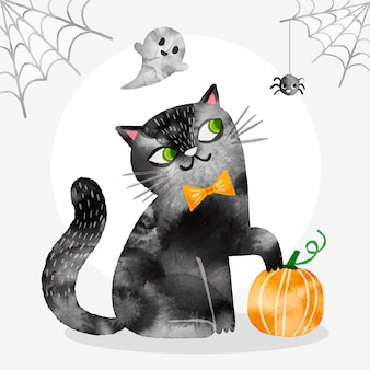 Watercolor halloween cat