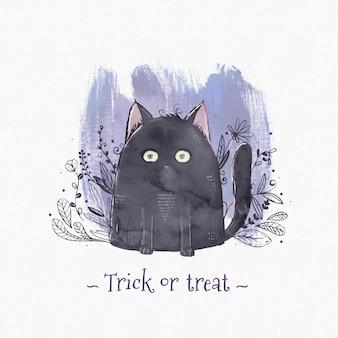 Watercolor halloween cat