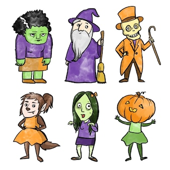 Watercolor halloween character collection