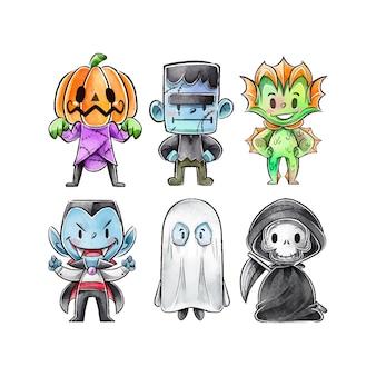 水彩ハロウィンキャラクターコレクション