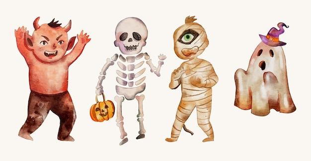 Коллекция акварельных персонажей хэллоуина