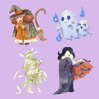 Watercolor halloween characters collection