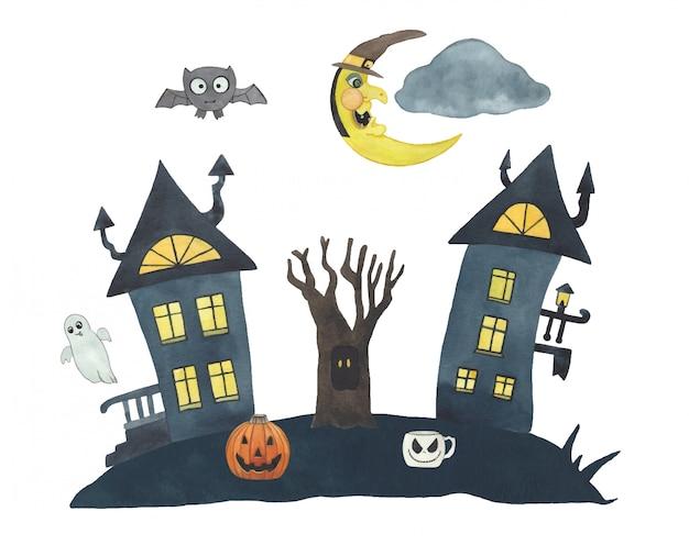 Акварельная композиция на хэллоуин с луной, замком, летучей мышью, тыквой, деревом и призраком. детский праздник иллюстрации.