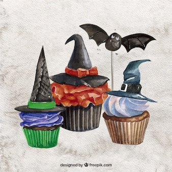 Watercolor halloween cupcakes collection