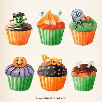 Watercolor halloween cupcakes