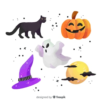 Watercolor halloween element collection on white background
