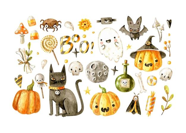 Коллекция акварельных элементов хэллоуина с хэллоуинскими существами