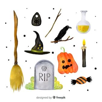 Watercolor halloween element collection