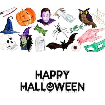 Watercolor halloween elements background