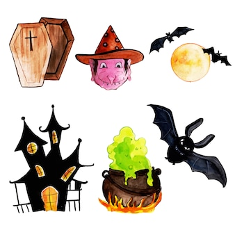 Watercolor halloween elements collection