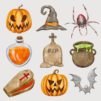 Коллекция акварельных элементов хэллоуина