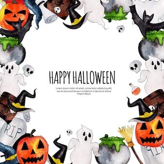 Watercolor halloween elements  frame
