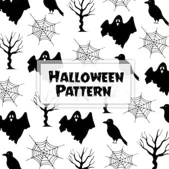 Watercolor halloween elements pattern background