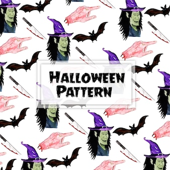 Watercolor halloween elements pattern background