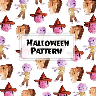 수채화 할로윈 요소 패턴 배경