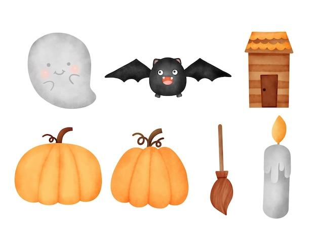 Watercolor halloween elements set
