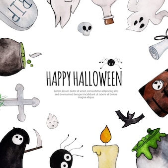Watercolor halloween frame background