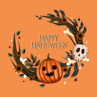Watercolor halloween frame template