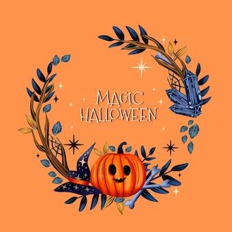 Modello di cornice di halloween dell'acquerello